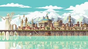 Pixel Art LakeSide Massive Galaxy Studios 4K Building City Lake Clouds Mountains 3840x2160 Wallpaper