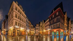 City Frankfurt Germany Light Night 4096x2491 wallpaper