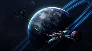 Death Star Planet Tie Fighter X Wing 1920x1116 Wallpaper