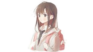 Anime Anime Girls Original Characters Artwork Gomzi Brunette Brown Eyes 1920x1080 Wallpaper