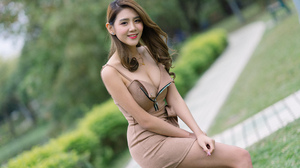 Asian Model Women Long Hair Dark Hair Depth Of Field Bushes Trees Necklace Looking At Viewer Brown D 2560x1707 Wallpaper