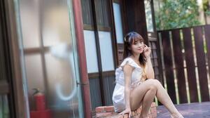 Asian Model Women Long Hair Dark Hair Women Outdoors White Dress Barefoot Sandal Sitting Depth Of Fi 1920x1280 Wallpaper