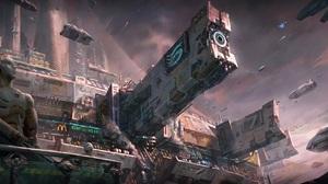 Artwork Science Fiction City Futuristic Docking Spaceport 1920x952 Wallpaper