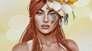 Blue Eyes Face Flower Freckles Girl Long Hair Redhead Woman 3000x2250 wallpaper