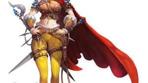 HyoUn Moon Women Sword Cape Bunny Ears Pants Navels Bare Midriff Warrior White Background Simple Bac 1741x2500 Wallpaper