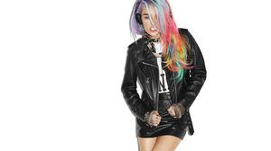 Chloe Norgaard Women Model Long Hair Young Woman Danish Headphones White Background Leather Skirts L 1382x922 Wallpaper