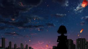 City Cloud Girl Night Stars 3840x2160 Wallpaper