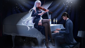 Alejandro Lara Drawing Women Men Piano Playing Violin Champagne Silver Hair Legs Crossed Dress Suits 2669x1618 Wallpaper