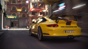 Car Porsche City Racing CGi Digital Art Render Rendering 1920x1080 wallpaper