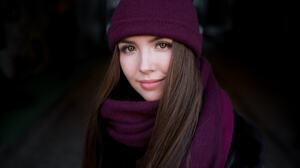 Brown Eyes Brunette Girl Hat Scarf Woman 2048x1365 Wallpaper