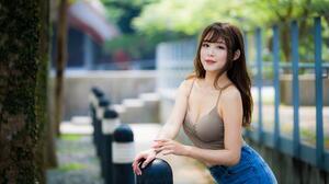 Asian Model Women Long Hair Brunette Depth Of Field Jeans Short Tops Fence Stairs Poles Trees 1920x1280 Wallpaper