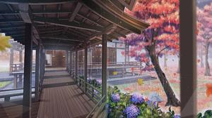 Building Flower Hydrangea Rain Tree 3508x2339 wallpaper