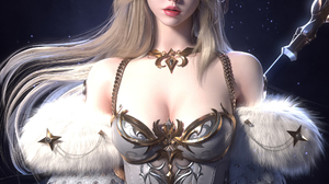 Jaesoub Lee CGi Women Elves Blonde Crown Glamour Pointy Ears Dress Looking At Viewer White Clothing  1920x2650 Wallpaper