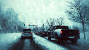 Snow Winter Storm Ontario Canada Traffic Traffic Lights Car Vehicle Street Trees Taillights 1920x1080 Wallpaper