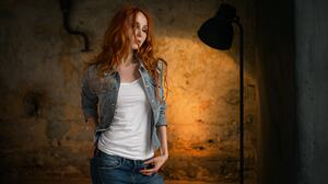 Anna Boevaya Sergey Fat Women Portrait Redhead Closed Eyes Jeans Jeans Jacket 1920x1080 Wallpaper