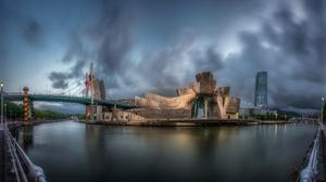 Bilbao Museum Spain Guggenheim Sky Bridge River Building 3840x2160 Wallpaper