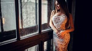 Women Ivan Gorokhov Portrait White Dress Window Blonde Brunette Long Hair Hairband Strapless Dress 2048x1366 Wallpaper