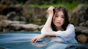 Asian Brunette Depth Of Field Girl Model Woman 3000x2001 wallpaper