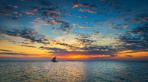 Sea Sky Boat Vehicle Sunlight Africa Tansania Horizon Clouds 2500x1325 Wallpaper