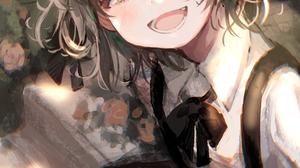 Hatoba Tsugu Brunette Smiling School Uniform Anime Girls Vertical Looking At The Side Short Hair 1792x2556 Wallpaper