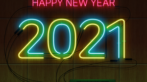 Neon Sign 2021 Happy New Year New Year Wood Texture 3840x2880 Wallpaper