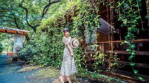Asian Women Model Long Hair Brunette Trees Bushes Straw Hat Flower Dress Barefoot Sandal Ivy Earring 3840x2561 wallpaper