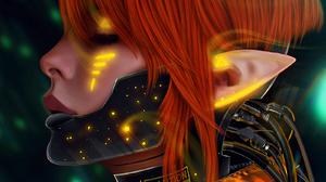 ArtStation Fan Art Science Fiction Cyberpunk Elve Mask Cyborg Portrait Redhead Artwork Digital Art G 1600x2000 Wallpaper