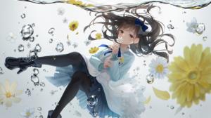 Anime Anime Girls Nenya Oekaki Artwork Brunette Brown Eyes Underwater Flowers 2100x1181 Wallpaper