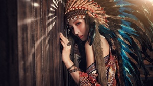 Asian Brown Eyes Feather Girl Headdress Model Native American Woman 4000x2670 Wallpaper