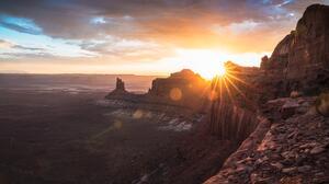 Landscape Canyon Sunset Sun Rays 9439x5899 Wallpaper