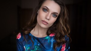 Blue Eyes Brunette Face Girl Model Woman 2048x1365 wallpaper