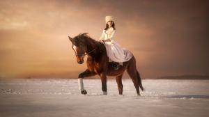 Woman Girl Horse Depth Of Field Coat Hat 2048x1367 Wallpaper