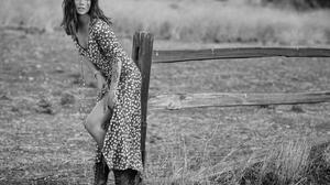 Women Model Photography Monochrome Looking At Viewer Actress Ana De Armas Fence Boots Legs Grass Cel 1728x1200 Wallpaper