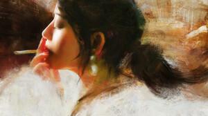 Tian Zi Women Smoking Cigarettes Artwork Painting ArtStation Closed Eyes Asian Dark Hair Face Profil 1920x1277 Wallpaper