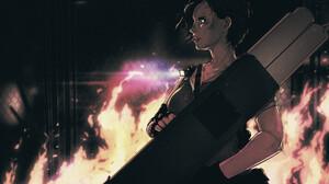 Fire Rocket Launchers Video Game Girls Fan Art Women Fingerless Gloves Digital Art Drawing Resident  3840x2880 Wallpaper