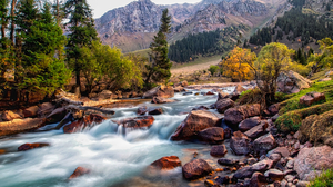 Water Rocks Trees Mountains Stream Landscape Nature Outdoors Photography 2000x1333 wallpaper