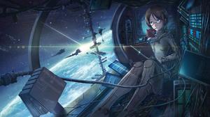 Blue Eyes Cosmos Spaceship Stars 4409x2480 Wallpaper