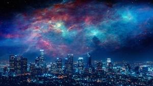 Los Angeles Night Sky Nebula 3765x1581 Wallpaper