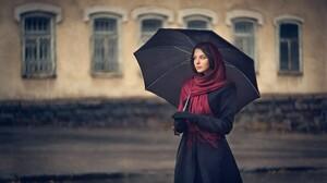 Umbrella Women Model Standing Brunette Women Outdoors Looking Away Black Gloves Depth Of Field Black 2499x1589 Wallpaper