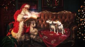 Dog Sofa Santa 6016x4016 Wallpaper