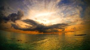 Cloud Earth Horizon Ocean Sea Sunbeam Sunset Sunshine 1920x1200 Wallpaper