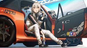 Anime Anime Girls Blonde Long Hair Red Eyes Glasses Sneakers Car Gloves Helmet Red Bull Off Road 4000x2250 Wallpaper