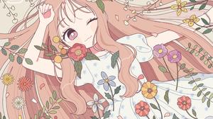 Brown Hair Dress Flower Long Hair Purple Eyes Wink 2048x1454 Wallpaper