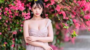 Asian Model Women Long Hair Dark Hair Flowers Branch Pink Dress Earring Ning Shioulin Necklace Paint 1920x1280 Wallpaper