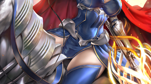 Artoria Pendragon Lancer Fate Grand Order Anime Anime Girls Blonde Crown Cape Looking At Viewer Dres 5430x7680 wallpaper