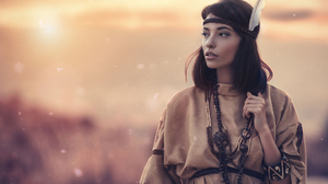 Alessandro Di Cicco Women Dark Hair Long Hair Hairband Feathers Native American Clothing Sun Brunett 2000x1333 Wallpaper