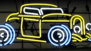 Car Classic Car Neon Neon Sign Sign Vehicle 2220x999 Wallpaper