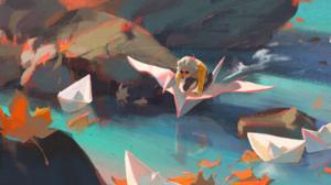 Digital Art Fantasy Art Rocks Paper Boats Petals Flying Men Glasses Paper Cranes Water Origami 2500x1064 wallpaper
