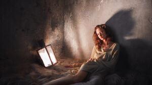 Andrew Vasiliev Women Redhead Looking Away Dress Indoors Sand Lantern Dark Shadow 2048x2048 Wallpaper