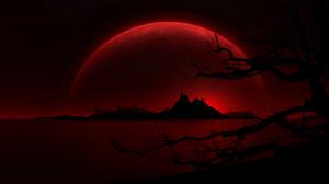 Moon Red Night Landscape Black 1680x1050 Wallpaper